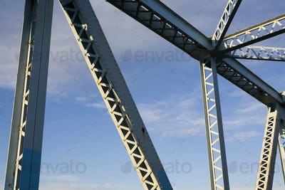 Steelwork on a bridge, silver metal structure,