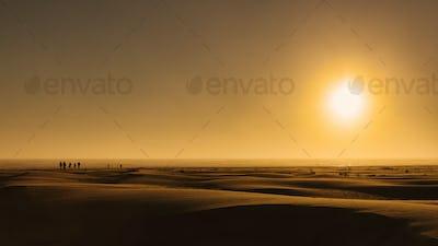 Sunrise over beach sand dunes