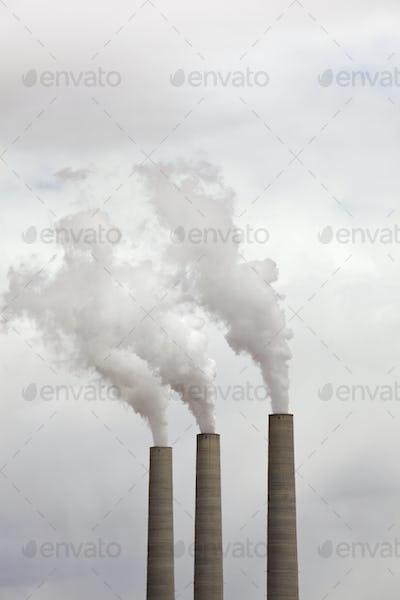 Smoke Coming From Three Smokestacks
