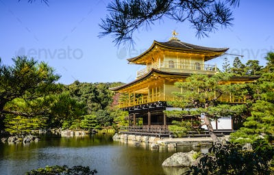 Gold Temple over still lake, Kyoto, Japan