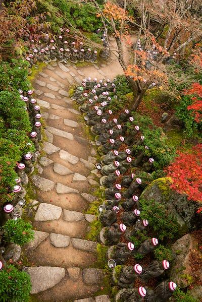 Miyajima Island, Hiroshima, Japan at the Buddha Lined Pathways
