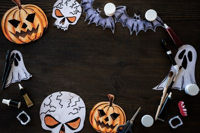 Halloween frame on wooden table