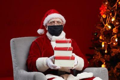 Santa preparing presents for kids