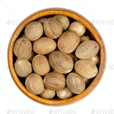 Dried whole nutmegs, fragrant or true nutmegs, in a wooden bowl