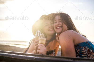 Cheerful happy young girls friends enjoy relationship