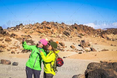 Trekking and outdoor mountain excursion people activity