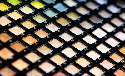 Eye shadow palette for make up, exhibition in beauty store