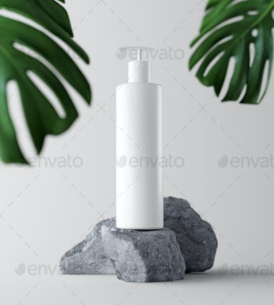 Natural Cosmetic product presentation backstage. Ourdoors forest placement. White blank Jar shampoo