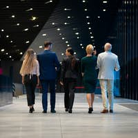 Diverse group of business people of all ages walking together and talking in modern interior