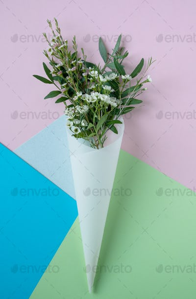 white flowers in paus tracing paper cone on colored paper background