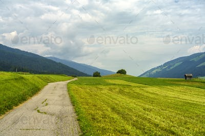 Cycleway of Pusteria valley at summer