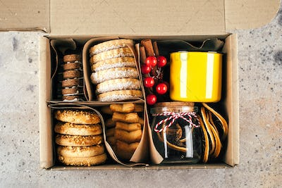 Christmas cookie gift box. Shortbread cookies. Care package concept. Mother's or Fathers Day Holiday
