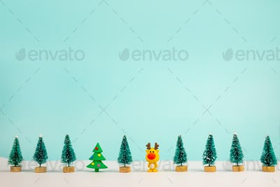 Christmas Background with decorations on white background. Flat lay, top view