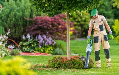 Men with Leaf Blower Cleaning Backyard Garden