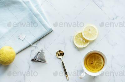 Aerial view of hot lemon tea drink