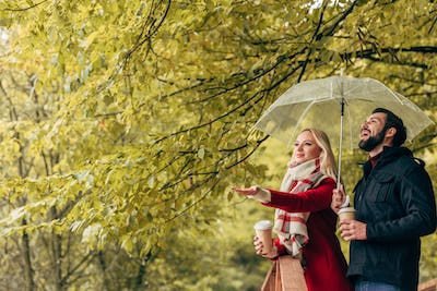 beautiful young couple holding umbrella and coffee to go in autumn park