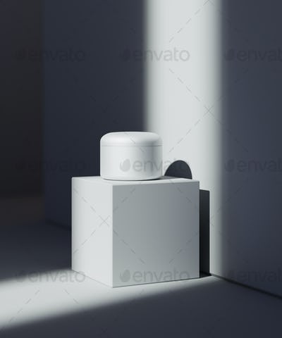 Natural Cosmetic presentation scene. Product placement. White background with dark shadows. 3d