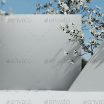 Natural Cosmetic product presentation scene. Ourdoors spring placement with flowers. White