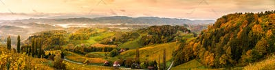 Autumn View from South Styrian route in Austria at hills in Slovenia during sunraise