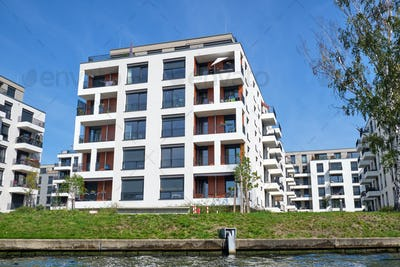 Modern residential buildings at the river Spree