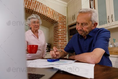 Senior caucasian couple spending time at home together