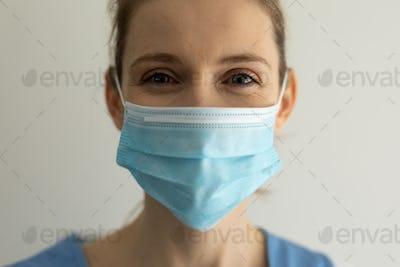 Portrait of Female health worker wearing face mask