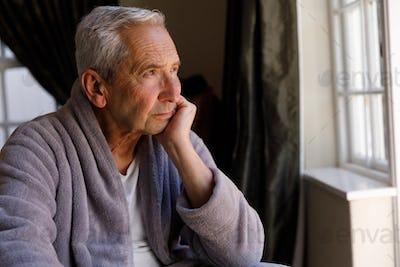 Senior caucasian man spending time at home