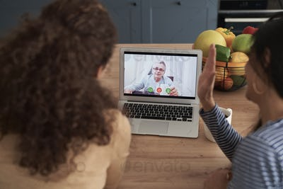 Rear view of women during videoconference with an old man