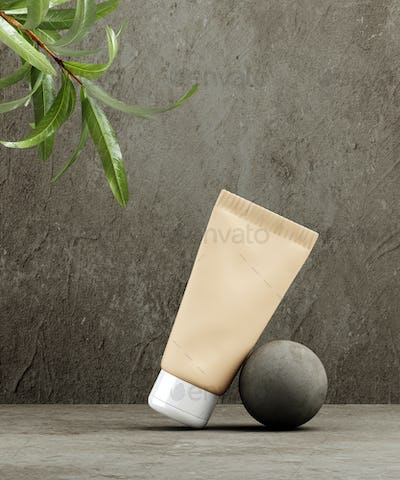 Natural Cosmetic product presentation template. Grey stones and palm leaf shadow blanc cosmetic jar