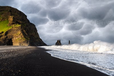 Incredible view on Black beach and Troll toes cliffs