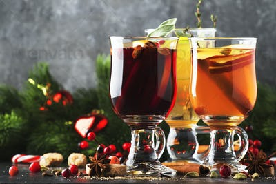 Mulled wine and mulled cider. Hot winter drinks and cocktails for christmas or new year's