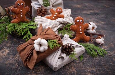 Christmas eco friendly furoshiki gift box