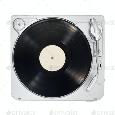 Turntable with long play or LP vinyl record isolated on white.