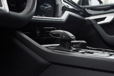 A fragment of the modern car saloon and a gearbox in an expensive car