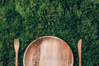 Wooden disposable tableware from natural materials, wooden spoon, fork on green moss background. Eco