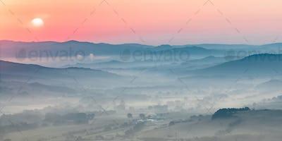 Tuscany foggy landscape scene