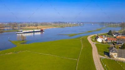 Cargo barge River Lek aerial view