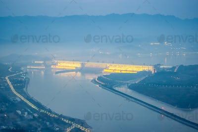 three gorges dam in nightfall