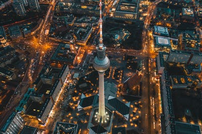 Berlin, Germany Alexanderplatz TV Tower after Sunset at Dusk with beautiful lit up Streets