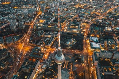 Wide View of Beautiful Berlin, Germany Cityscape of Alexanderplatz TV Tower
