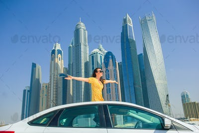 Summer car trip and young woman on vacation