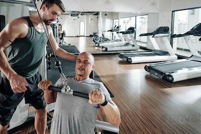 Man doing chest exercise