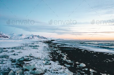 View over Diamond Beach in Iceland with Ice Cubes on the ground