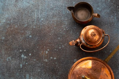 Set of old vintage copper empty tableware