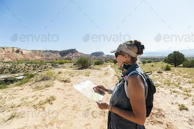 adult woman hiker, Ghost Ranch, New Mexico