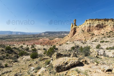 Chimney Rock and mesa, landmark in a protected canyon landscape