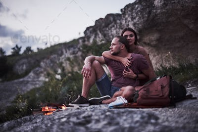 Two loved people have camping in the evening