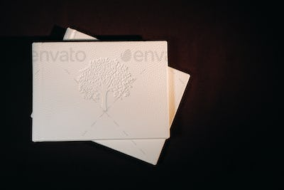 Composition of photo books in natural white leather of different sizes. The white paper on a dark