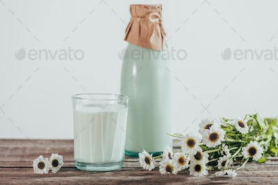 bottle and glass of fresh milk with chamomile flowers on wooden tabletop