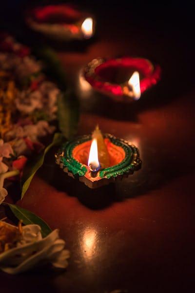 Burning lamp in Diwali